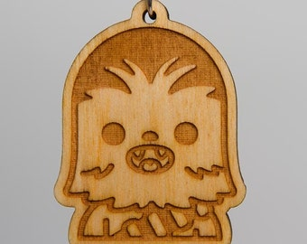 Wookie Emoji Keychain - Star Wars Emoji Carved Wood Key Ring - Chewbacca Emoji Wooden Engraved Charm