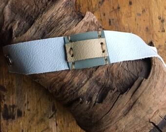 Sunrise Blue Leather Cuff