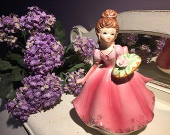 Josef Original musical girl figurine ,Lefton collectible plays Love story ,pink dress brunette birthday girl 1960-1970