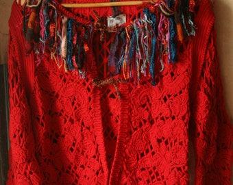 Cotton jacket with hand made fringe decoration