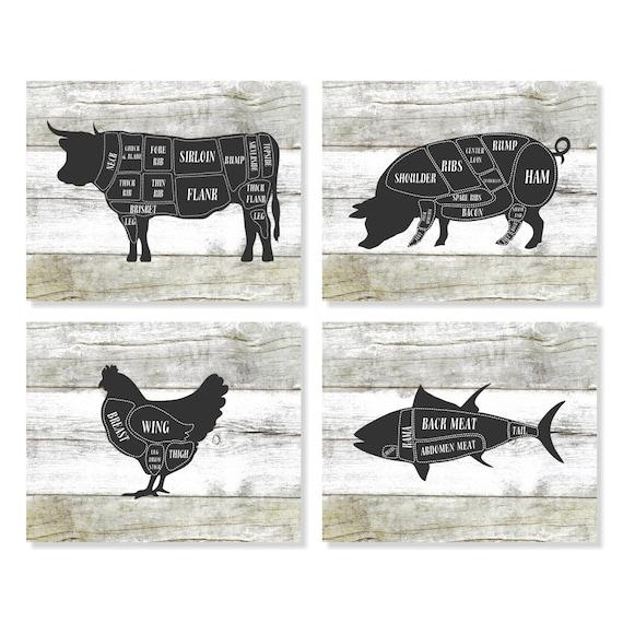 Butcher Chart Cow Pig Chicken Fish Kitchen Art Prints
