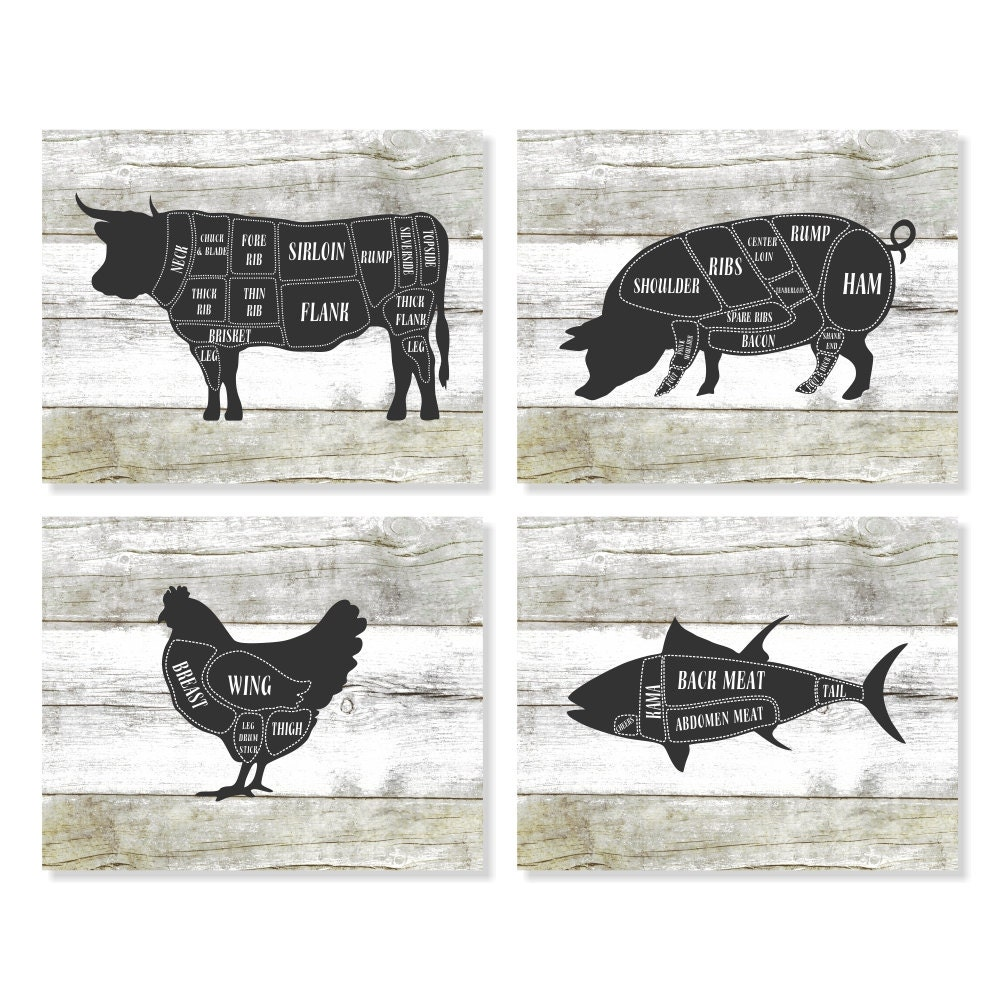 Butcher chart cow pig chicken fish kitchen art prints zoom pooptronica