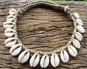 Handmade Hemp Shell Necklace with Cowrie Shells