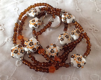 Brown and Orange Glass Beaded ID Badge Holder