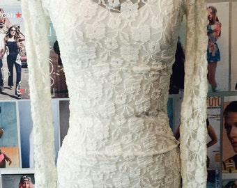 Crushed Velvet Dress with Long Sleeve Lace Overlay