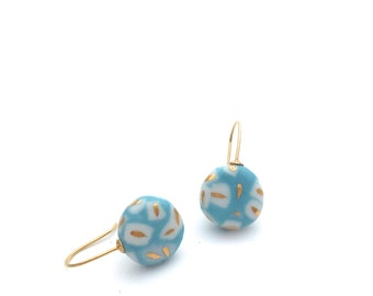 Turquoise ceramic earrings, porcelain jewelry, Mediterranean jewelry, 18k gold earrings, Turquoise dangle earring, Sea blue, Aquamarine