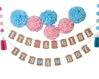 Gender reveal party Baby Shower Banner Boy or Girl pompom birthday Party Garland Hanging Decoration