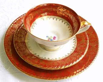 vintage teacup trio retro teacup trio german porcelain teacup shabby chic retro tea cup red teacup Rudolf Wachter 48