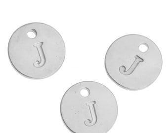 Letter J - 12mm Silver Pendant