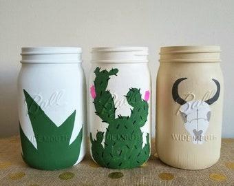 Painted Mason Jars, Rustic Mason Jars, Cactus Decor, Animal Skull Mason Jars, Plant Mason Jars, Boho Mason Jars, Mason Jar Decor, Vases