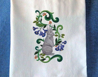 Chinchilla Rabbit In Flowers Embroidered On Flour Sack Kitchen Towel
