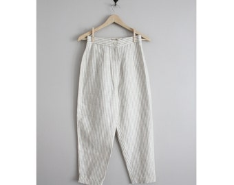 striped linen trousers / cigarette pants / high waist pants