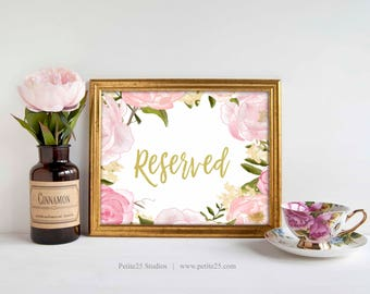 Wedding Reserved Sign, Pink Rose Peonies Gold Text Wedding Reception Signage, 5x7, 8x10, Reserved Sign, printable