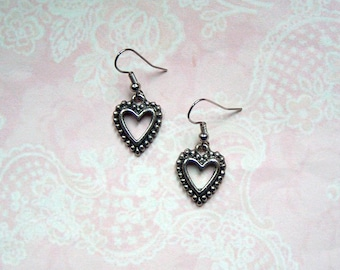 Earrings Hearts Silver Vintage Love