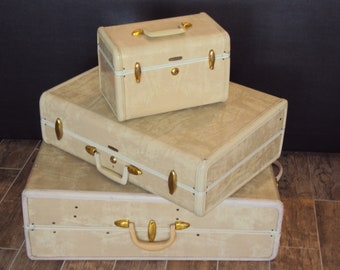 1940s-50s 3 Piece Set Of White/Ivory Marble Samsonite Luggage/ White Marble Traincase/ Vintage Samsonite Suitcases/Cream Marble Luggage