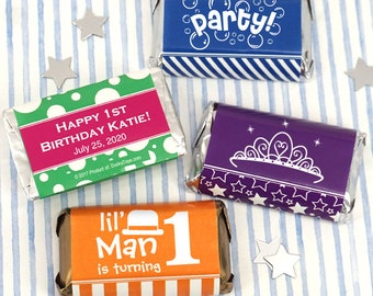 Personalized Birthday Favors for Kids , Birthday Hershey's Chocolate Assorted Miniatures, Assorted Chocolate - Set of 50