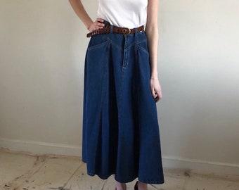 90s denim maxi skirt / vintage jean skirt full circle twirly denim skirt