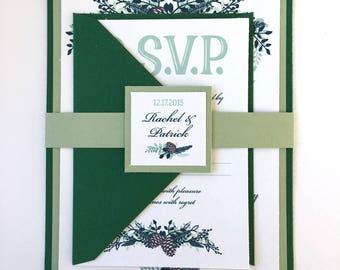Winter Sage and Pinecone Garland Wedding Invitations
