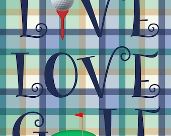 Golfing Garden Flag, Live, Love, Golf, Blue, Green Plaid, Garden
