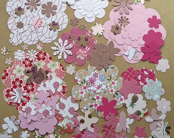 100 cuts vary in pink paper flowers