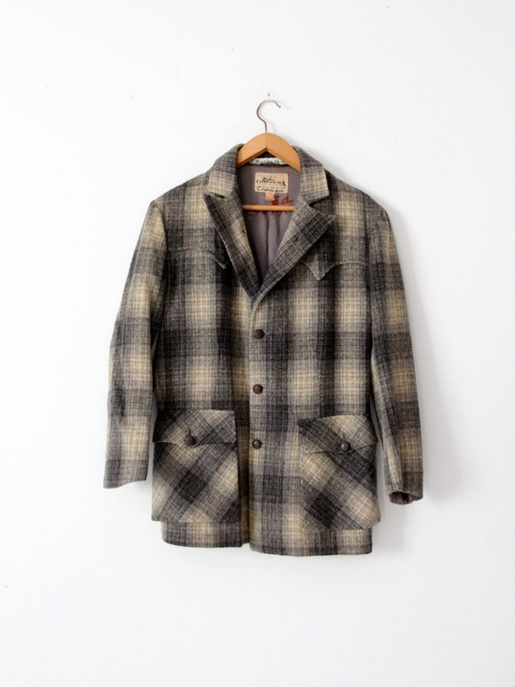 1960s Vintage Chippewa / Turquoise & Gray Check With Gold Lame Wool Shirt - Excellent N0aHlz
