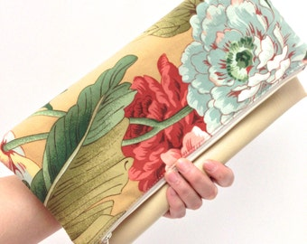 Gift Idea Foldover Clutch Purse Vegan Leather Red Blue Flowers on Beige Natural