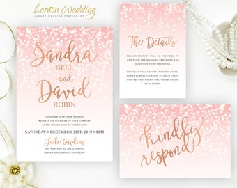 Blush pink and rose gold wedding Invitation sets | Glitter wedding invitation printed on white shimmer cardstock  | Confetti wedding invites
