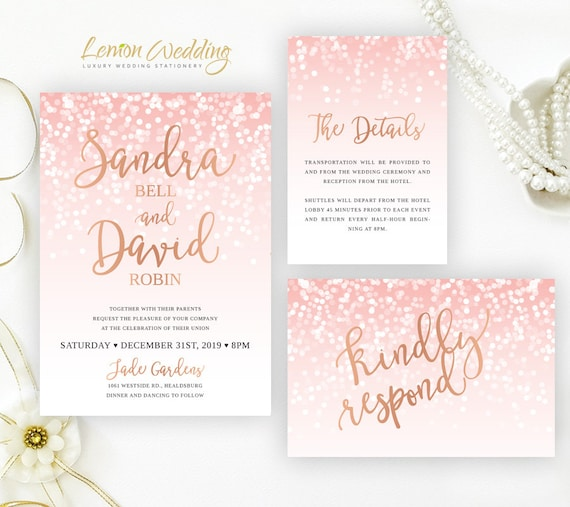 Pink and Rose Gold Invitations packs printed on shimmer card