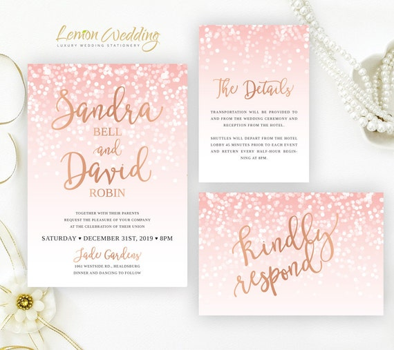 Blush pink and rose gold wedding invitation sets glitter like this item filmwisefo Image collections