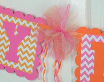 Chevron Happy Birthday Banner, Birthday Party, Hot Pink and Orange Theme,