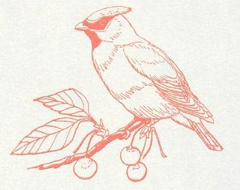 5 Bird on a Branch Note Cards, Letterpress