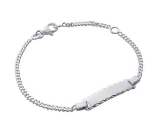 Silver curb chain Bracelet for child with engraved name 61538205 16 cm