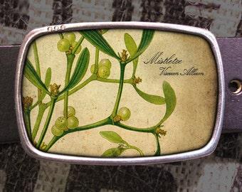 Mistletoe Belt Buckle,  Buckle 603, Gift for Him, Gift for Her, Husband  Gift, Wife  Gift Groomsmen Wedding