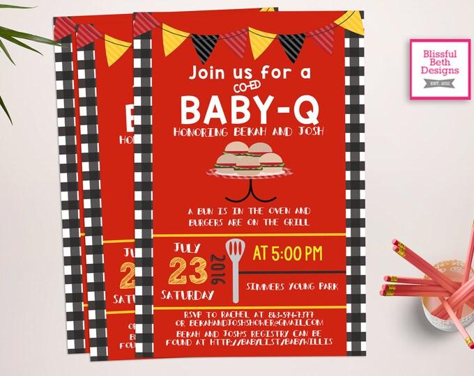 BABY-Q Shower Invitation, Baby-Q Shower, BABY-Q Invite, BABY-Q Invitation, Barbecue Baby Shower, Co-Ed Shower