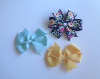 Set of 3 pinwheel hair bows