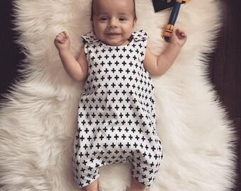 Romper/ harem romper/ baby romper/ toddler romper/ monochrome romper/ summer outfit/ baby outfit/ black white romper/ harem -Swiss Cross