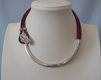 Bordeaux Leather and Antique Silver Snake Necklace