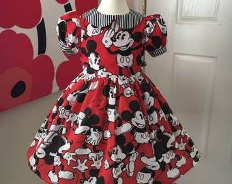 Custom Made to Order Disney Mickey Mouse puff sleeves dress Sz 6m to 6T