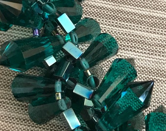 REDUCED: Chunky Teal Crystal Statement Necklace