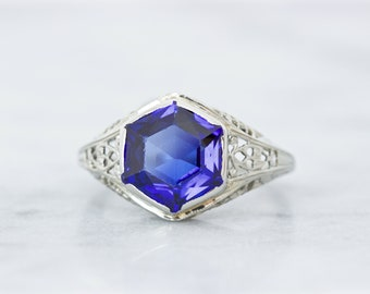 Art Deco Ring, 1920s Engagement, 18k White Gold Filigree Ring, Antique Bezel Set Sapphire Blue Gemstone, Fine Geometric Jewelry, Size 6.25