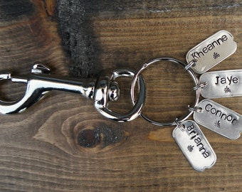 Personalized Key Chain.Custom Key Chain.Swivel Snap Hook.Handstamped Names.Grandparent Gift.Gift for Mom.Gift for Dad.Unique Hip.Got Keys.