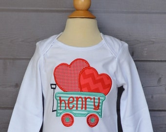 Personalized Valentine's Wagon Heart Applique Shirt or Bodysuit Girl or Boy