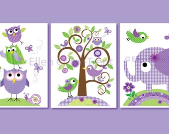 Kids Wall Art- Purple animals set