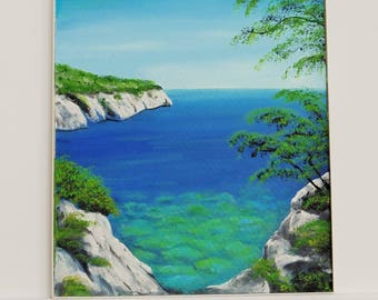 Bay of the Adriatic oil on fiber painting unique signed