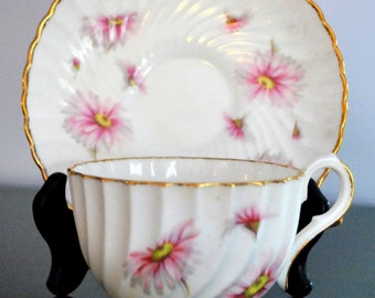 Vintage Jason of England Pink Daisy Cup and Saucer