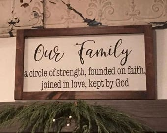 Farmhouse Sign | Our Family | A Circle of Strength... | Rustic Sign | Custom Sign | Handpainted Sign