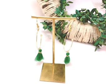 tassel earrings, green earrings, hoop earrings, minitassel earrings, fringe earrings,
