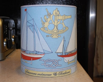 Sailboat Schooner Nautical Lamp Shade Blue, Red, Yellow