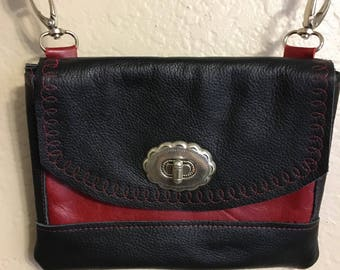 Leather hip purse black and red