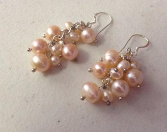 Pink Cultured Freshwater Pearl  Earrings, pearl dangle, pearl beaded earrings, prom jewelry, bridal earrings